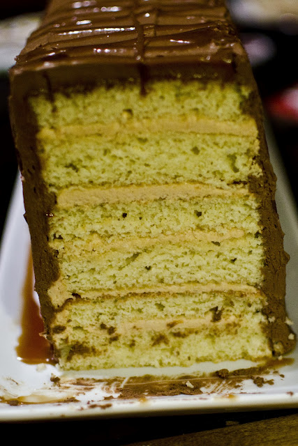 six layer chocolate cake salted caramel cake 1 was pistachio cake with ...