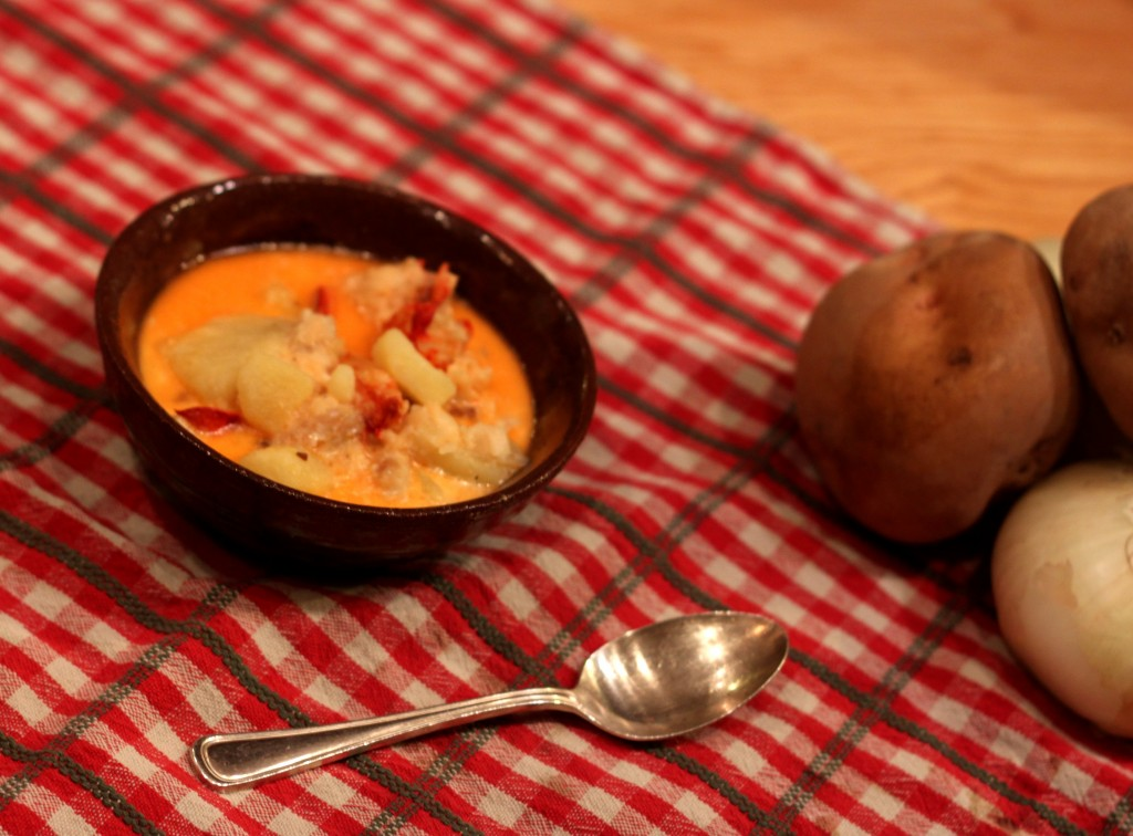 Lobster Chowder and Tide Mill veggies